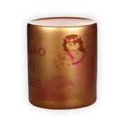 Taupyklė su nuotrauka 9 x 8 cm, Auksinė