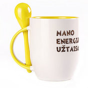 A cup with a spoon. Yellow (250 ml)