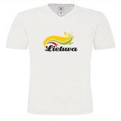 Vyriški marškinėliai V formos apykakle su Jūsų nuotrauka, užrašu, balti