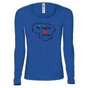 Moteriški marškinėliai ilgomis rankovėmis su Jūsų nuotrauka, užrašu, mėlyna