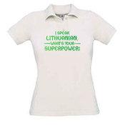 Moteriški polo marškinėliai su Jūsų nuotrauka, užrašu, balti