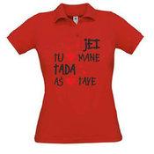 Moteriški polo marškinėliai su Jūsų nuotrauka, užrašu, raudoni