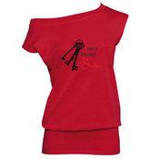 Moteriška tunika su Jūsų nuotrauka, užrašu, raudona