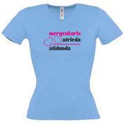 Moteriški marškinėliai V formos apykakle su Jūsų nuotrauka, užrašu, melsvi