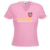 Moteriški marškinėliai V formos apykakle su Jūsų nuotrauka, užrašu, rožiniai