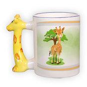 Puodelis su žvėrelio formos rankenėle. Žirafa.