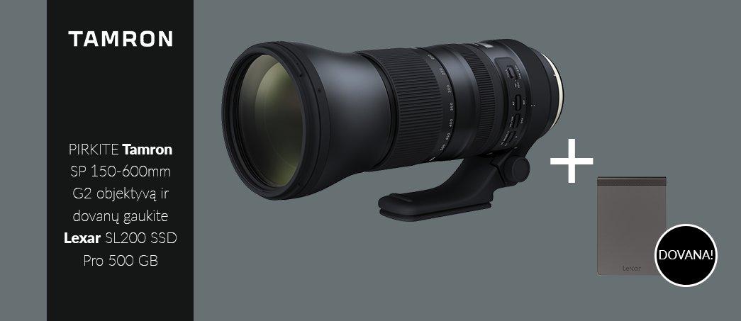 Pirkite Tamron SP 150-600mm G2 objektyvą ir dovanų gaukite Lexar SL200 SSD Pro 500 GB diską!