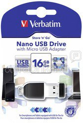 10x1 Verbatim Store n Stay 16GB USB 2.0 + OTG Adapter micro USB