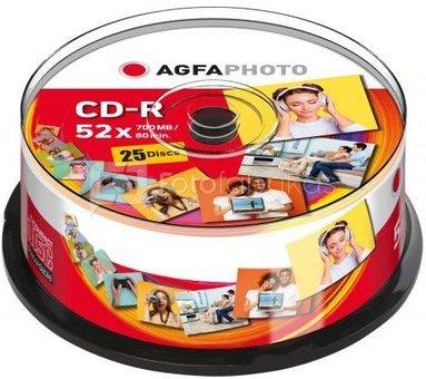 1x25 AgfaPhoto CD-R 80 / 700MB 52x Speed Cakebox
