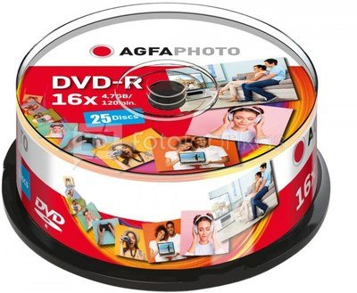 1x25 AgfaPhoto DVD-R 4,7GB 16x Speed, Cakebox