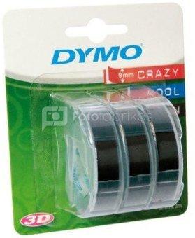 1x3 Dymo 3D Prägeband 9 mm x 3 m Plastik schwarz
