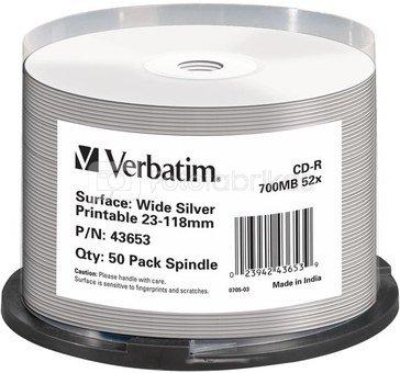 1x50 Verbatim CD-R 80 / 700MB 52x Speed wide silver inkjet