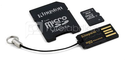 Atminties kortelė Kingston microSD 8GB + SD ir USB adapteris