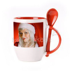 Чашка с ложкой. Kрасный (250 мл)