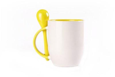 Puodelis su šaukšteliu. Geltonas (250 ml)