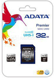 A-DATA 16GB Premier SDHC UHS-I U1 Card (Class10) read/write speeds of up to 50/33 MB/sec Retail