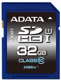 A-DATA 32GB Premier SDHC UHS-I U1 Card (Class10) read/write speeds of up to 50/33 MB/sec Retail
