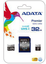 A-DATA 8GB Premier SDHC UHS-I U1 Card (Class10) read/write speeds of up to 50/33 MB/sec Retail
