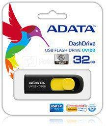 A-DATA DashDrive UV128 32GB Black+Yellow USB 3.0 Flash Drive, Retail
