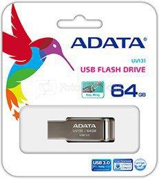 A-DATA FlashDrive UV131 64GB Chromium Grey USB 3.0 Flash Drive, Retail