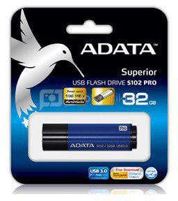 A-DATA S102 Pro Effortless Upgrade 16GB Titanium Blue Speed USB 3.0 Flash Drive
