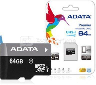 ADATA Premier UHS-I 64GB GB, Micro SDXC, Flash memory class 10, No