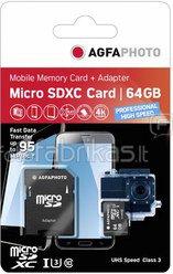AgfaPhoto MicroSDXC UHS I 64GB Prof. High Speed U3 + Adapter