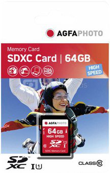 AgfaPhoto SDXC Card 64GB High Speed Class 10 UHS I