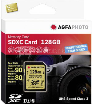 AgfaPhoto SDXC Card UHS I 128GB Professional High Speed U3 90/80