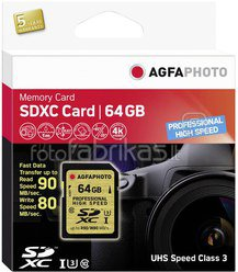 AgfaPhoto SDXC Card UHS I 64GB Professional High Speed U3 80/90
