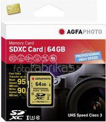 AgfaPhoto SDXC Card UHS I 64GB Professional High Speed U3 95/90