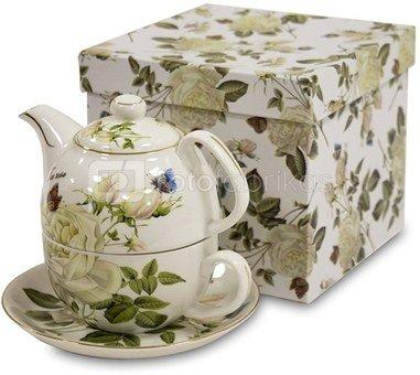Arbatinukas su puodeliu 14x15x16 cm 119772 dekoruotas rožių piešiniu