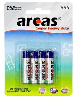 Arcas Super Heavy Duty AAA (LR03), 4- pack