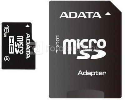 Atminties kortelė A-Data 16GB microSD SDHC su adapteriu