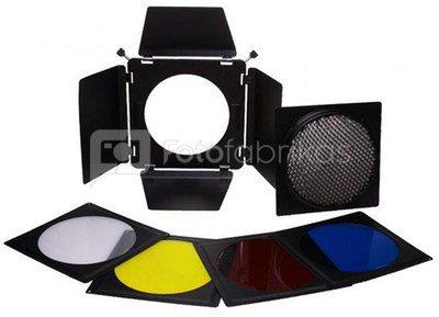 """Barndoors 7"""" (15-19cm) + 4 Filters + Honeycomb"""