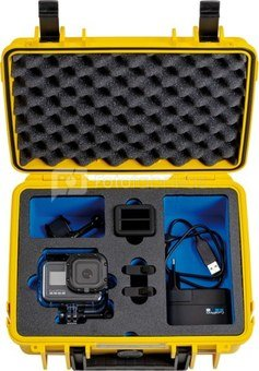 BW OUTDOOR CASE TYPE 1000 FOR GOPRO HERO 8 WATERPROOF HOUSING, BATTERIES, DUAL CHARGER,YELLOW