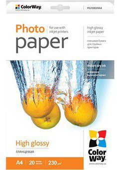 ColorWay High Glossy Photo Paper, A4, 200g/m, 20 sheets