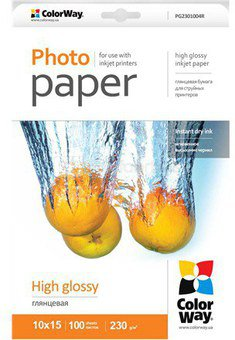 ColorWay High Glossy Photo Paper, 100 sheets, 10x15, Weight 230 g/m²