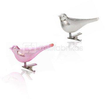 Dekoracija paukštelis stiklinis baltas/rožinis YQN5453 8.3*2.6*3.4cm SAVEX