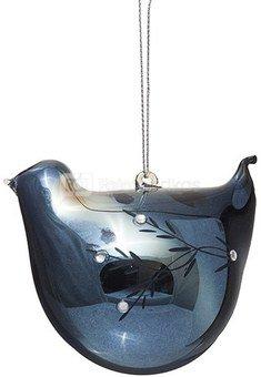 Dekoracija paukštelis stiklinis mėlynas YQM5619-4 8.3*5.7*7.5CM SAVEX