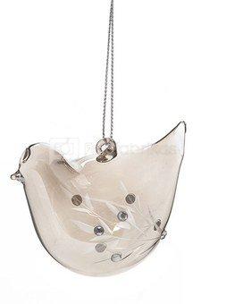 Dekoracija paukštelis stiklinis rudas YQN5482 4.3*6.7*5.8cm SAVEX