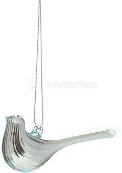 Dekoracija paukštelis stiklinis sidabro spalvos YQM5561 2.5*3.6*8cm SAVEX