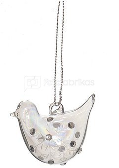 Dekoracija paukštelis stiklinis skaidrus (12) YQN5485-4 3*4.9*4cm