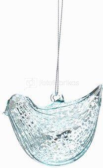 Dekoracija paukštelis stiklinis žalias YQM5556 4.4*6*6.5 SAVEX