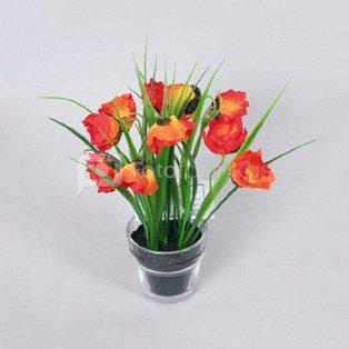 Dekoratyvinė gėlė Aguonos vazonėlyje FA05198GS h 22 cm