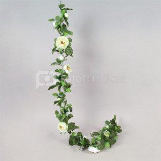 Dekoratyvinė gėlė Rožės girlianda balta h 180 cm SAVEX