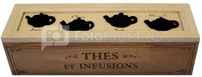 Dėžutė arbatai medinė 66763 H:9 W:33 D:10 cm.