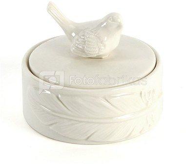 Dėžutė balta keramikinė su paukščiuku H:7 W:9 D:9 cm 61932