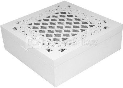 Dėžutė medinė balta ažūriniu dangčiu 8x24x24 cm 101469 ddm zzz