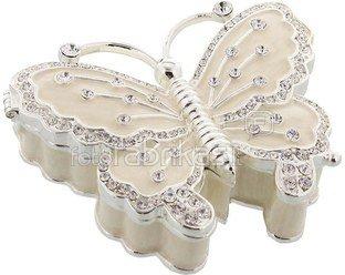 Dėžutė metalinė puošta kristalais drugelio formos 15427